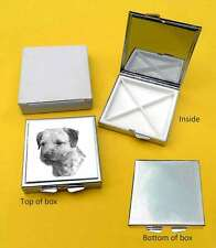 Border Terrier Dog Polished Metal Square Pill Box with 4 compartments Gift