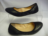 COLE HAAN Womens Ballet Flats Sz 7.5 B Black Suede Leather Logo Rubber Pads Sole