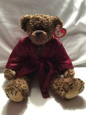 Ty Beanie Baby Attic Treasures Tyrone Jointed Teddy Bear With Robe Wrinkled Tag
