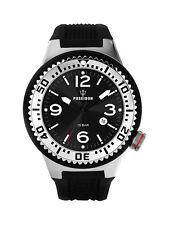 POSEIDON Unisex-Armbanduhr L Analog Silikonband UP00398 Schwarz/Silb. UVP 119,-
