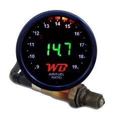 APSX V2 Anti-Glare D2 Digital Wideband O2 AFR Gauge & Sensor Kit Black & GREEN