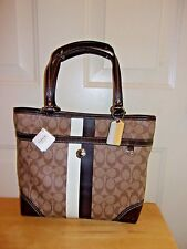 New Coach Heritage Stripe Tote Shopper Purse Khaki Mahogany Classic $298