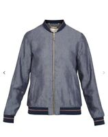 New Ted Baker Women Bomber Jacket, CBN Zip Front,  Navy, size 4 (Large)