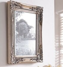 NEW Picture Frame Cottage Vintage Shabby Chic Silver Baroque Brocade