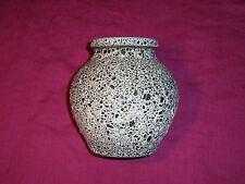 Vase schwarz weiß Schrumpfglasur Keramik gemarkt Ø 16,5 cm Retro 50er 60er