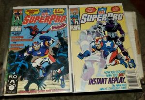NFL SuperPro #1, 3, & Special Edition (1991 Marvel) Spider-Man