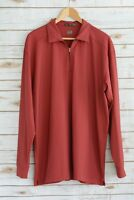 Tiger Woods GOLF - Maroon partial ZIP long sleeve polo, size XL