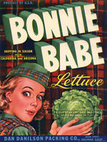 Vintage 1950s BONNIE BABE Lettuce CRATE LABEL ART PRINT - Scottish Girl - 7.5x10