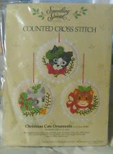 """Candamar designs counted cross stitch kit Christmas cats Ornaments 4"""" rd. Each"""
