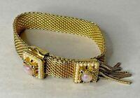 Vintage Gold-Tone Mesh Slide Bracelet w/ Faux Opals