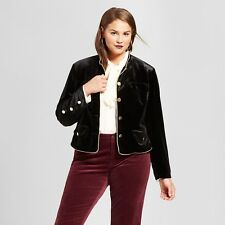 Who What Wear Women's Plus Size Piped Military Jacket, Black, 3XL