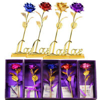 24K Gold Plated Rose Flower Valentine's Day Girlfriends Mothers Gift With Box