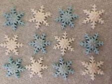 12 BLUE/WHITE EDIBLE SUGARPASTE SNOWFLAKES CHRISTMAS/FROZEN CUPCAKE/CAKE TOPPERS