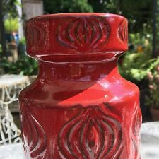 Vintage Retro Fat LAVA West German Vase 23cm Tall Red Onion