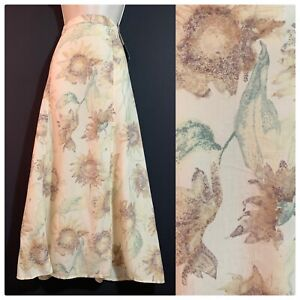 ST MICHAEL Vintage 1990s Long Skirt Impressionist Sunflower Pastel Lyocell UK 16