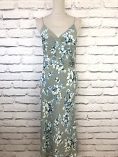 WHISTLES Green Blue Floral Print Vintage Silk Sleeveless Occasion Dress UK 16