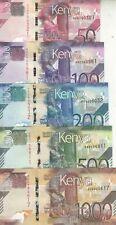 More details for kenya 50 100 200 500 1000 shillings 2019 p- new unc full set