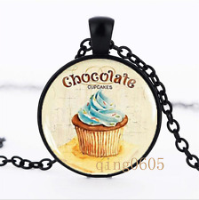 Chocolate Cupcake photo Glass Dome black Chain Pendant Necklace wholesale