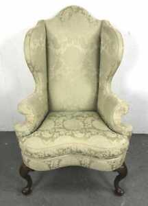 Kittinger Williamsburg Mahogany Wing Chairs Green Damask Fabric CW 163 Rare