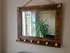 Beautiful Rustic Farmhouse Hand Crafted Wall Mirror with shelf - Oak Finish