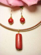 Schmuckset Halskette Ohrringe Koralle 925 Silber vergoldet Perlen Schmuck Leder