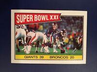 1987 Topps #1 SUPER BOWL XXI PHIL SIMMS Giants 39 Broncos 20 Qty Avail BV LOOK