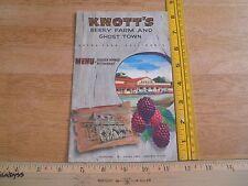 Knotts Berry Farm Chicken Dinner Restaurant Ghost Town menu VINTAGE