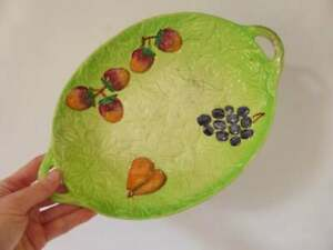 Vintage Shorter and Son Green Leaves & Fruit Bowl, 1930's Staffordshire Pottery