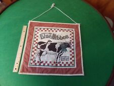 Amish Hand Crafted Quilted Wall Hanger Decor Blue Ribbon Cow Wood Dowel At Top