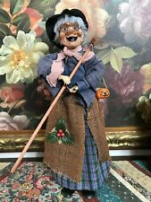 "Vintage Halloween WITCH Figure Holding Broom with Clay Pumpkin 19"" Handmade"