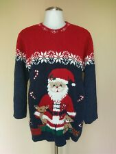Vtg Ugly Tacky Christmas Sweater Medium Santa Claus Reindeer Fair Isle Snowflake