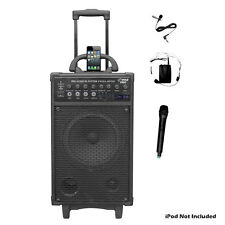 New Pyle PWMA890UI 500W Wireless Portable PA System W/iPod Dock FM/USB/SD 2 Mics