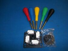 2 HAPP COMPETITION 8 way JOYSTICKS Mame (tm) compatable Red Blue Yellow & Green