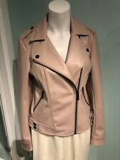 NEW Karl lagerfeld pink/blush faux leather biker jacket Small