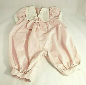 Vintage Baby Girl Romper Jumper Pink White Sailboats Embroidered Collar 0 - 6 M