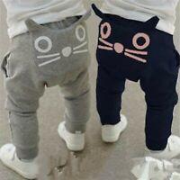 Toddler Infant Baby Boys Girls Cartoon Cat Print Harem Casual Pants Trousers