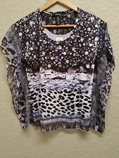 NEW Style & co Petite Printed Poncho Top 29698 Leopard Fancy PS
