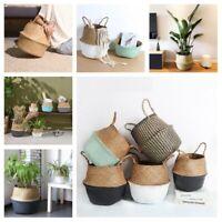 Foldable Seagrass Woven Basket Wicker Flower Plant Pot Garden Bag Decorations