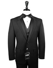 36 S Mens Black Two Button Tuxedo Package Used Formal Prom Wedding Sale Cheap
