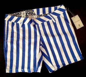 NEW VOLCOM Stripe Shorts Size 0 Blue White Stretch Straight Leg Flat Pants XS