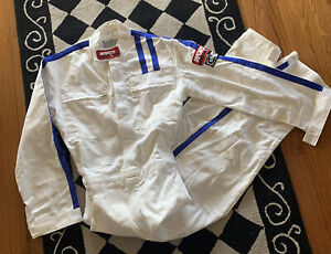 Vintage Worth Racing Suit Coverall Jumpsuit sfi  USA White/Blue Sz S Overalls