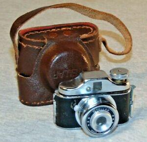 Vintage Stellar Miniature Spy Film Camera w/ Marked Leather Case 1950's