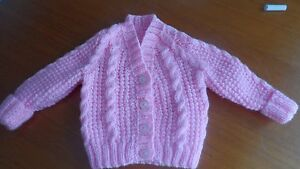 baby girl pink cable knit cardigan 0-6 months