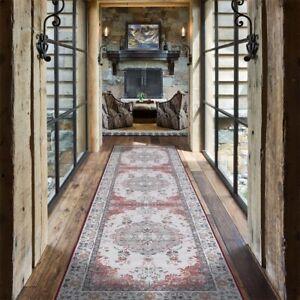 Hallway Runner Rug Floor Kitchen Green Traditional Floral Carpet Mat 80x300cm