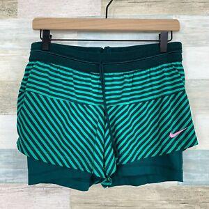 Nike 2 In 1 Compression Running Shorts Green Striped Dri-Fit Womens Medium