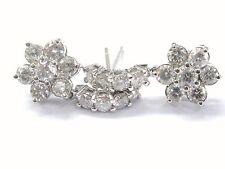 Fine Round Brilliant Diamond Flower Cluster White Gold Earrings 4.05CT