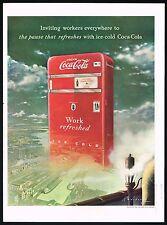 1940s BIG Vintage Coca-Cola Soda Vending Machine Arthur Radebaugh Art Print Ad