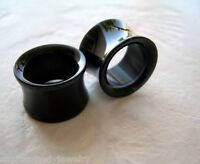 1 PAIR Black Acrylic Ear Plugs Saddle Tunnels Gauges Double Flare
