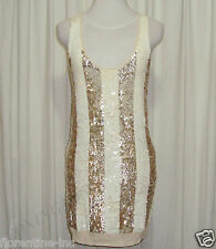"BNWT:SASS&BIDE WHITE&LIGHT GOLD SEQUINNED CREAM SILK DRESS L/12 ""ALL I'LL BE"""