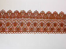11cm tan brown embroidered guipure lace bridal wedding dress prom trim veil net
